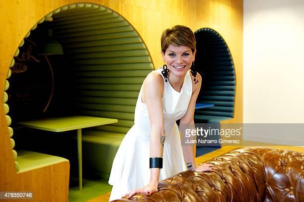 Italian singer Alessandra Amoroso poses before her showcase at Sony Music office on June 24 2015 in Madrid Spain