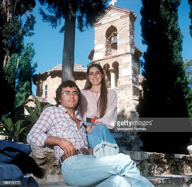 Italian singer and actor Al Bano and Americanborn Italian singer Romina Power posing smiling during a holiday in Greece Greece 1975