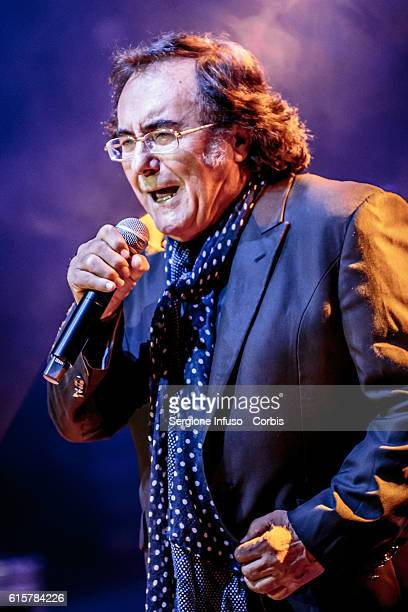 Italian singer and actor Al Bano performs for a charity concert at Teatro dal Verme on October 18 2016 in Milan Italy