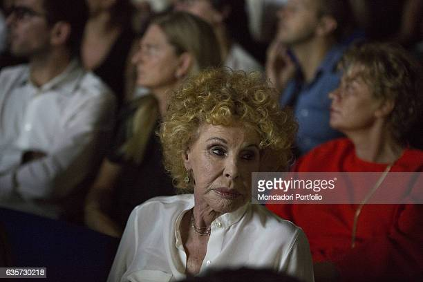 Italian singer and actress Ornella Vanoni in the orchestra during the event 'the Women's time' at the Teatro dell'Arte of the Triennale Milan 9th...
