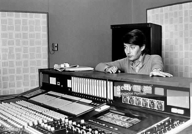 Italian singer and songwriter Fabrizio De Andre in a recording studio Milan 1974