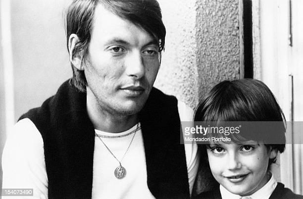 Italian singer and songwriter Fabrizio De Andre with his son Italian singer and songwriter Cristiano De Andre Genoa 1970