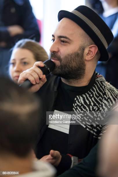 Italian singer and Songwriter Giuliano Sangiorgi during the presentation of 'Fabio Novembre DesignArchitecture' at Mondadori Store on April 4 2017 in...