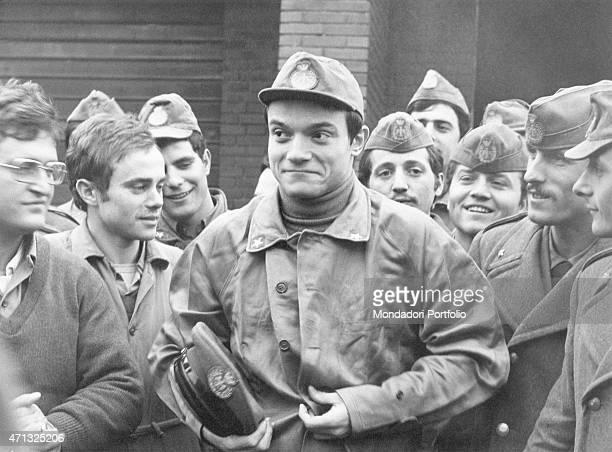 Italian singer and theatre actor Massimo Ranieri doing his military service Italy February 1972