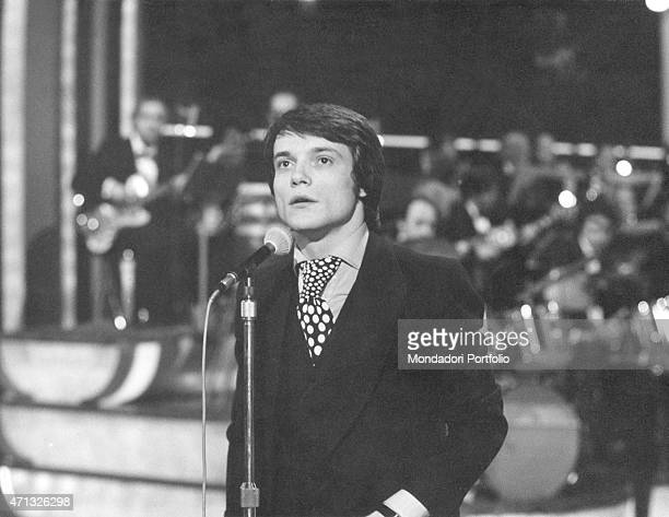 Italian singer and theatre actor Massimo Ranieri performing at Canzonissima 1972 won by him with the song 'Erba di casa mia' Rome 1972