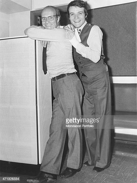 Italian singer and theatre actor Massimo Ranieri with his father Umberto Calone in a photo shooting Milan September 1972