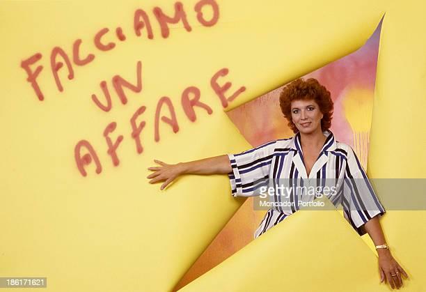 Italian singer and TV presenter Iva Zanicchi advertising the TV show Facciamo un affare Cologno Monzese 1985