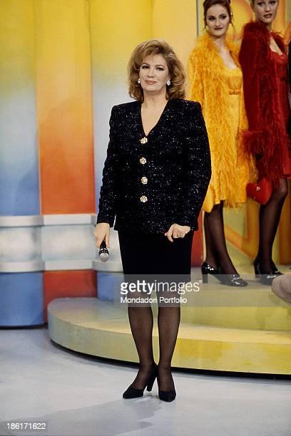 Italian singer and TV presenter Iva Zanicchi presenting the TV show The price is right Cologno Monzese 1996