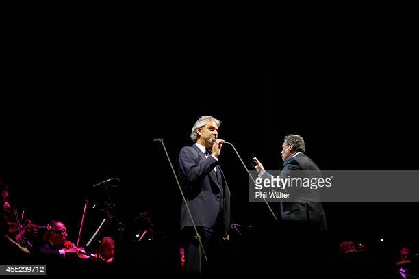 Italian singer Andrea Bocelli performs onstage at Vector Arena on September 11 2014 in Auckland New Zealand