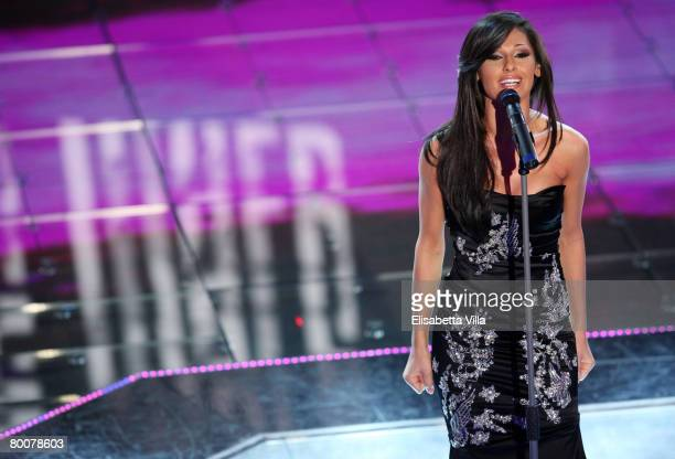 Italian singer Anna Tatangelo performs on stage during the 58th San Remo Music Festival on March 01 2008 in San Remo Italy