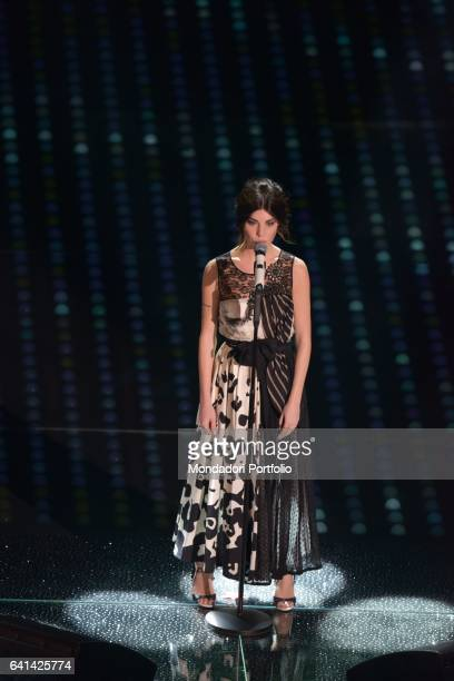 Italian singer Bianca Atzei performs at 67th Sanremo Music Festival Sanremo february 8 2017