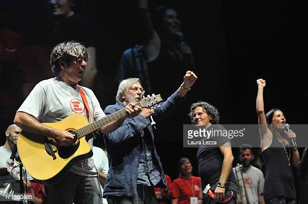 Italian singer Bobo Rondelli Gino Strada founder of Emergency editor Nico Colonna and singer Paola Turci perform during the Emergency National...
