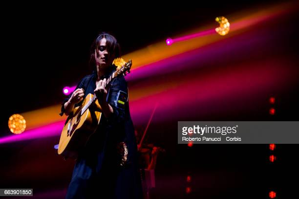 Italian singer Carmen Consoli performs in concert at Politeama Greco Theatre on March 31 2017 in Lecce Italy