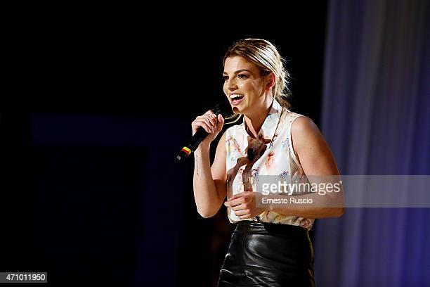 Italian singer Emma Marrone attends the 'Maurizio Costanzo Show' TV show at Studi De Paolis on April 24 2015 in Rome Italy