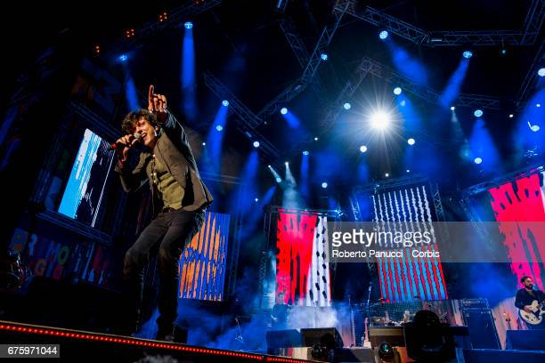 Italian singer Ermal Meta performs in concert at 1st Of May Concert on May 01 2017 in Rome Italy