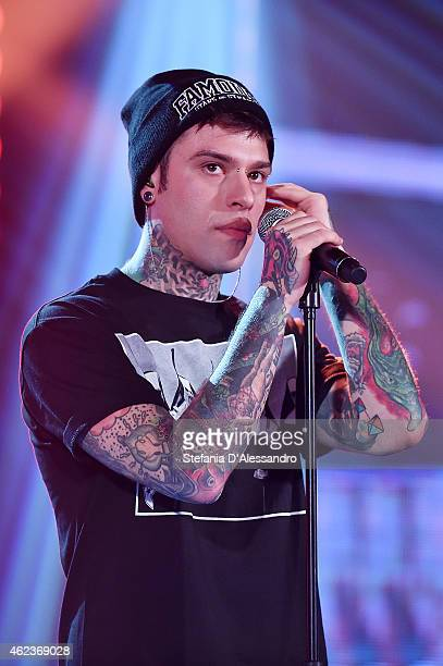 Italian singer Fedez performs live at RadioItaliaLive on January 27 2015 in Milan Italy