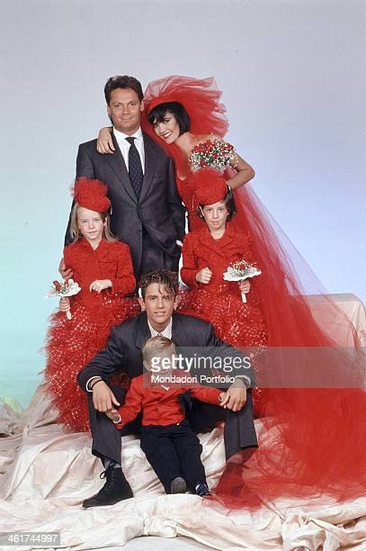 Italian singer Fiordaliso on the occasion of her wedding posing with her husband Italian entrepreneur and disco owner Paolo Tonoli the two...