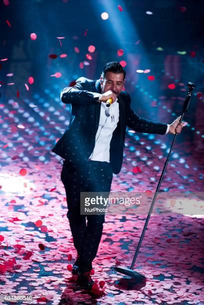 Italian singer Francesco Gabbani winner of the 67th Italian Music Festival in Sanremo attends the closing night of 67th Sanremo Festival 2017 at...