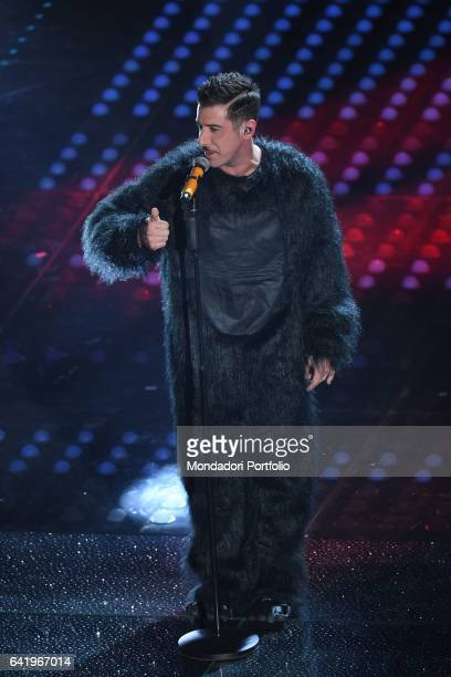 Italian singer Francesco Gabbani winner of the competition performs at 67th Sanremo Music Festival with the song Occidentali's Karma Sanremo february...