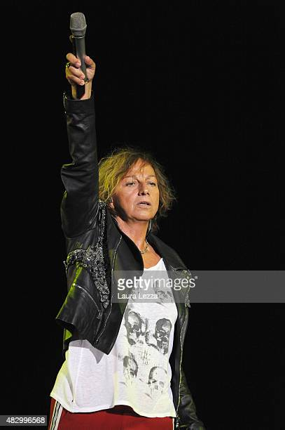 Italian singer Gianna Nannini performs at Teatro del Silenzio during the 10th edition of Andrea Bocelli's Teatro del Silenzio summer concert in his...