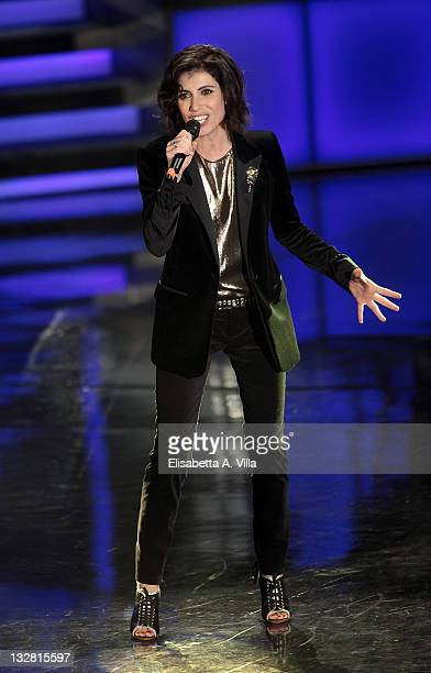 Italian singer Giorgia performs during the 'Il Piu Grande Spettacolo Dopo Il Weekend' TV show at Cinecitta on November 14 2011 in Rome Italy