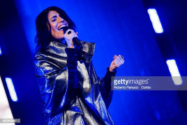 Italian singer Giorgia performs in concert at Palalottomatica Arena on April 01 2017 in Rome Italy