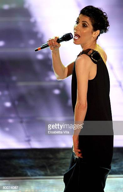 Italian singer Giorgia performs on stage at the Teatro Ariston on February 29 2008 in Sanremo Italy