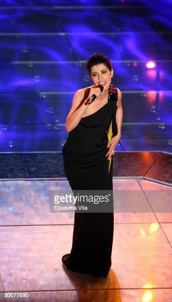 Italian singer Giorgia performs on stage during the 58th San Remo Music Festival at the Teatro Ariston February 29 2008 in San Remo Italy