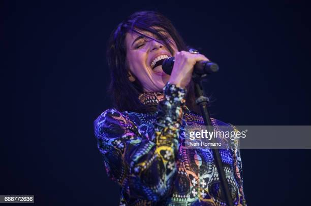 Italian singer Giorgia performs on the stage of Palasele for 'Oronero Tour' on April 9 2017 in Eboli Italy