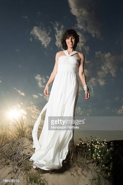 Italian singer Giorgia posing at Capocotta beach for a photo shooting Lido di Ostia 18th May 2012
