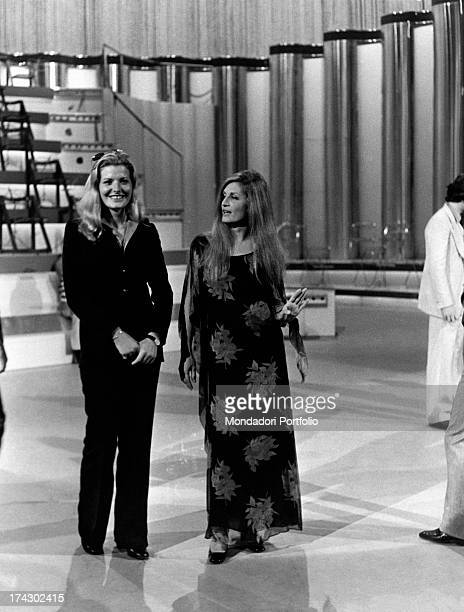 Italian singer Giovanna born Giovanna Nocetti with ItalianFrench actress and singer Dalida Iolanda Cristina Gigliotti's pseudonym on the stage of...