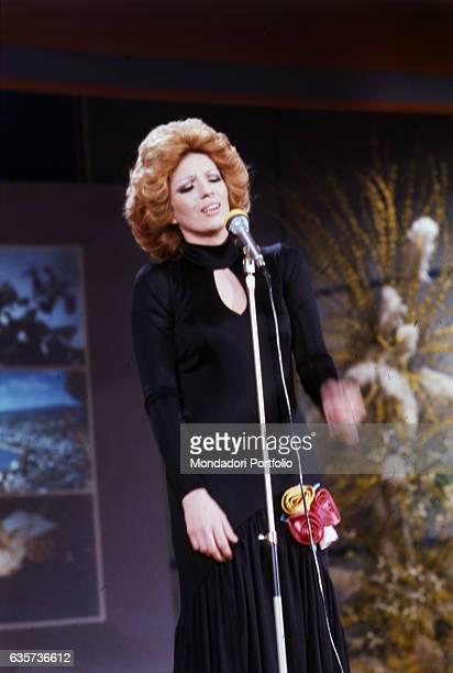 Italian singer Iva Zanicchi winning the 24th Sanremo Music Festival with the song Ciao cara come stai Sanremo 1974