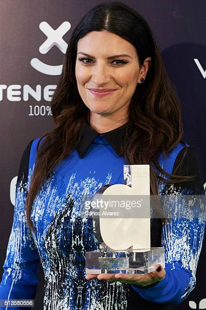 Italian singer Laura Pausini attends the 'Cadena Dial' 2015 awards press room at the Recinto Ferial on March 3 2016 in Tenerife Spain