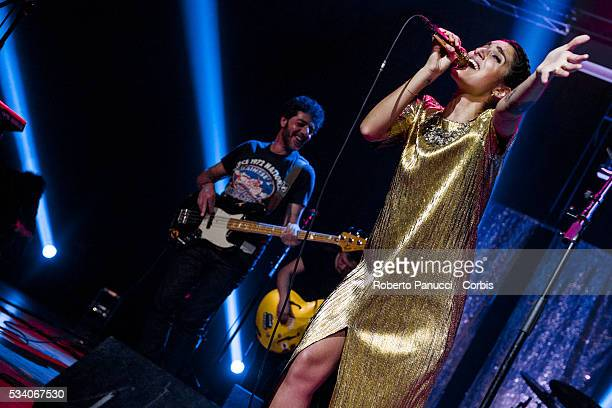 Italian singer Levante and Max Gazzè perform in concert at Alcatraz Music Club on March 13 2016 in Milan Italy