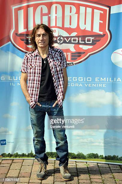 Italian singer Luciano Ligabue poses during the press conference at the Osteria dell'Aviatore on March 22 2011 in Reggio nell'Emilia Italy