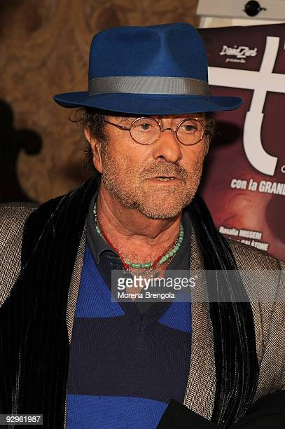 Italian Singer Lucio Dalla attends photocall for the launch of 'Tosca amore disperato' musical on November 10 2009 in Milan Italy