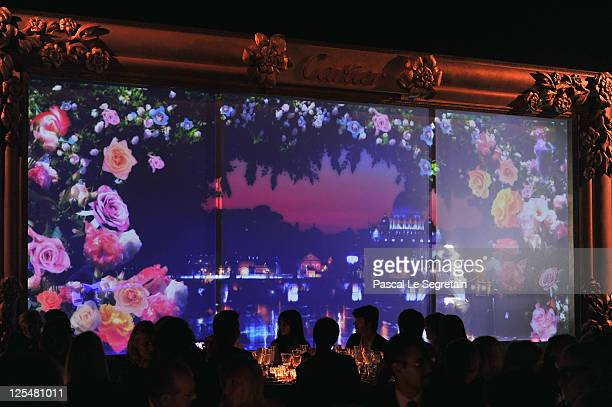 Italian singer Lucio Dalla performs on stage during the new High Jewellery Collection 'Sortilege de Cartier' launch dinner at Villa Aurelia on...