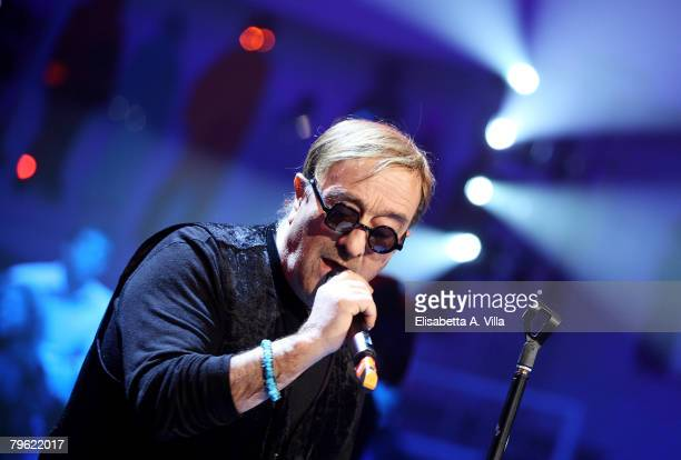 Italian singer Lucio Dalla performs on the tv show 'Domenica In' on February 7 2008 in Rome Italy