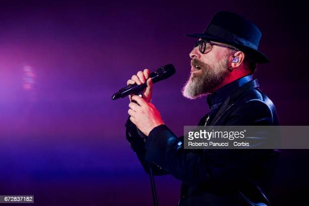 Italian singer Mario Biondi performs in concert at Auditorium Parco of Music on April 24 2017 in Rome Italy