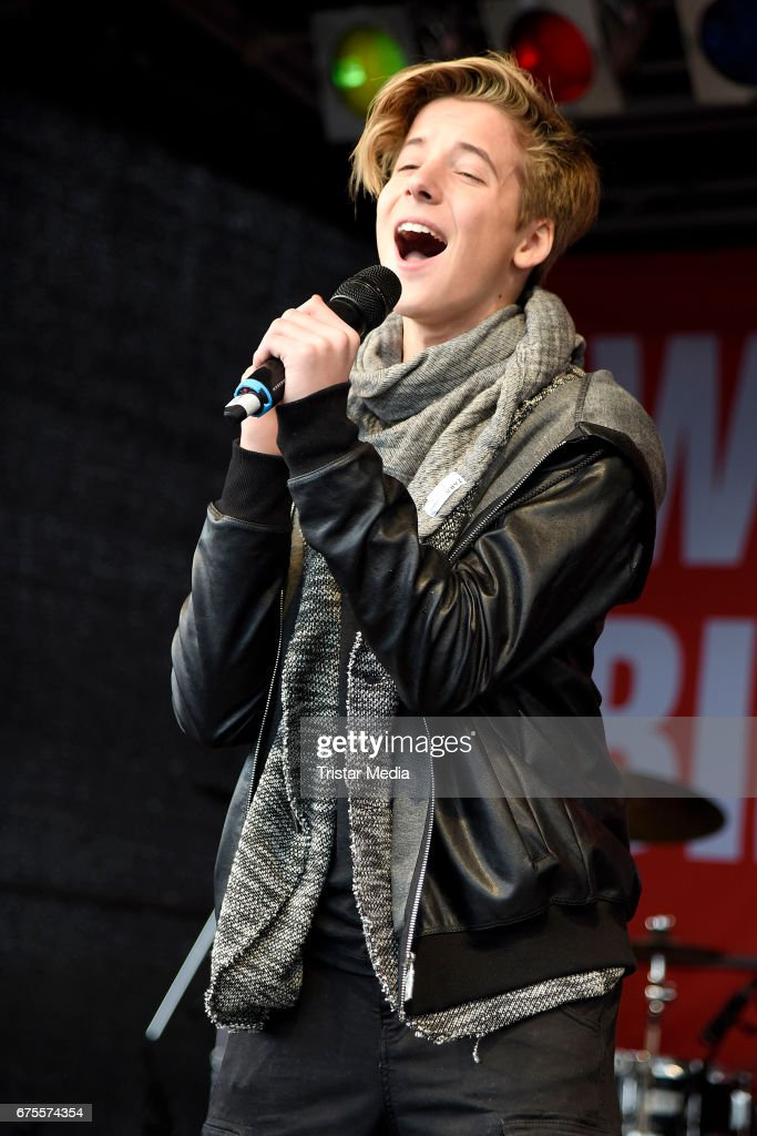Italian singer Matteo Markus Bok performs during the 'BILD Renntag' at Trabrennbahn on May 1, 2017 in Gelsenkirchen, Germany.