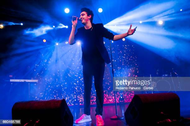 Italian singer Michele Bravi performs in concert at Fabrique Music Club on March 25 2017 in Milan Italy