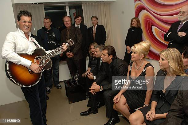 Italian singer Nicola Congiu sings as Rossano Rubicondi Ivana Trump and Ivanka Trump look on during his private performance at 500 Park Avenue on...