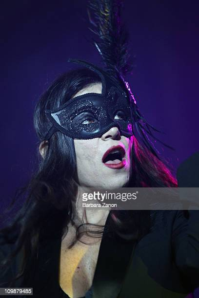 Italian singer Paola Turci performs on stage in Piazza San Marco during the last day of Venice Carnival on March 8 2011 in Venice Italy