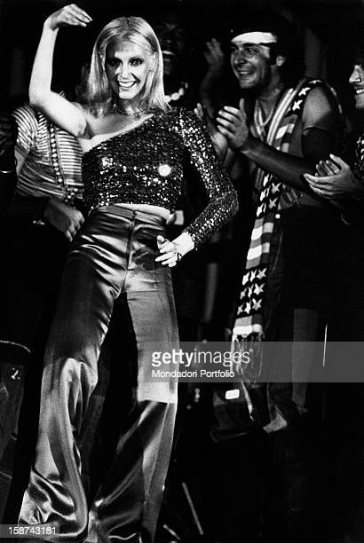Italian singer Patty Pravo dancing during a show Sirmione 1973
