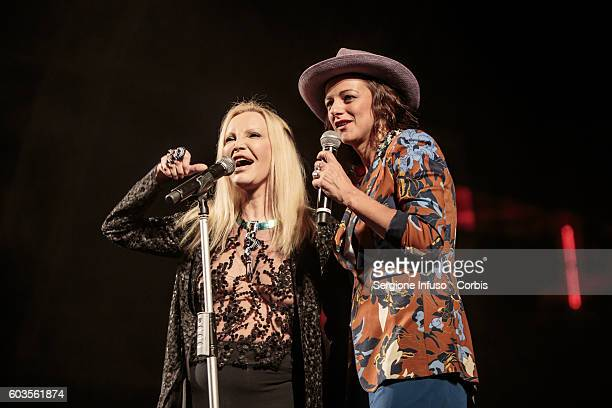 Italian singer Patty Pravo duets with the singer of Italian rock band Baustelle Rachele Bastreghi at CarroPonte in Milan Italy on September 11 2016