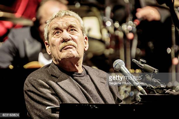 Italian singer pianist and composer Paolo Conte performs on stage on November 12 2016 in Milan Italy