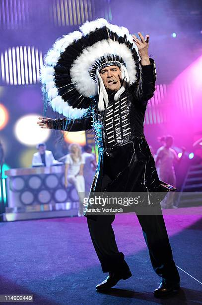 Italian singer Renato Zero performs live during the Wind Music Awards Show at the Arena of Verona on May 27 2011 in Verona Italy