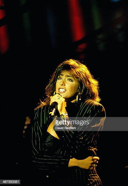 Italian singer Sabrina Salerno on stage circa 1988