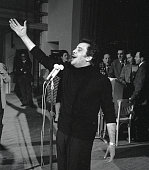 Italian singer songwriter and actor Domenico Modugno rehearsing during the Sanremo Music Festival