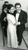 Italian singer songwriter and actor Domenico Modugno with his wife Franca Gandolfi attend the Sanremo Music Festival
